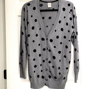Faded Glory Dot Button-Up Sweater Cardigan XL